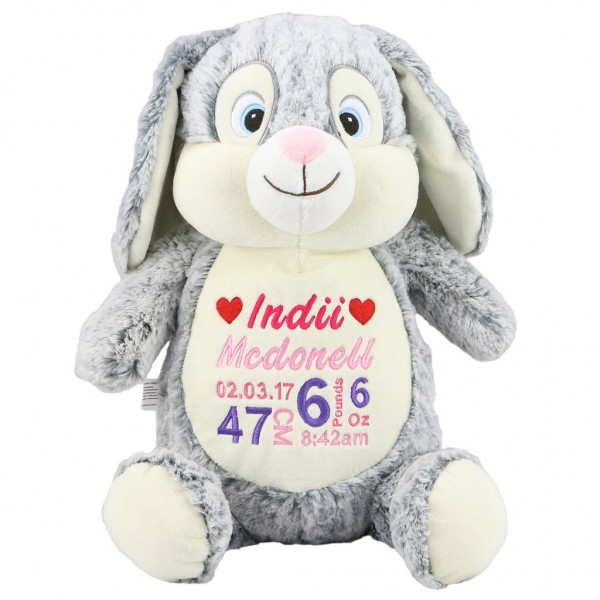Personalised gifts for all occasions personalised teddy bears bunny cubbie grey negle Choice Image
