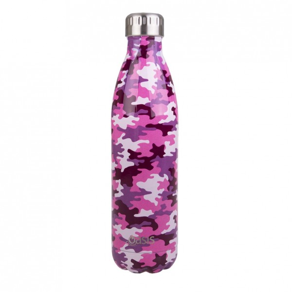 Personalised Drink Bottle Camo Pink 750ml